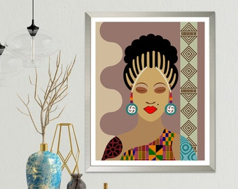 African Queen Painting Black American Woman Art, Natural Hair Black Girls Rock Magic