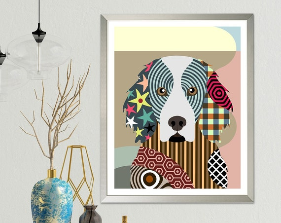 Gordon Setter Dog Painting, Pet Portrait Pop Art Print Gift
