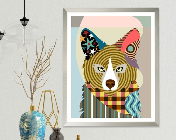 Fox Wall Art Decor, Animal Portrait Wildlife Poster Painting
