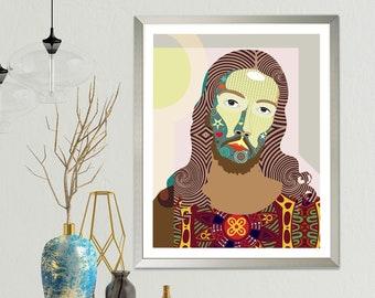 Jesus Art Painting Poster, Christian Wall Decor