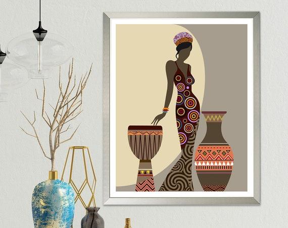 African Woman Art, Black Girl Wall Decor Painting