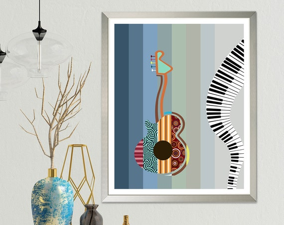 Abstract Guitar Painting, Music Wall Decor Piano Poster Print