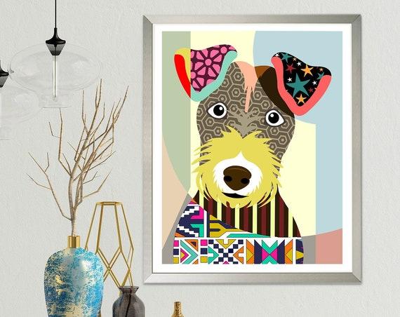 Lakeland Terrier Modern Dog Art Print, Pet Portrait