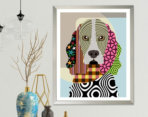 Cocker Spaniel Dog Pop Art, Pet Portrait Animal Art Painting