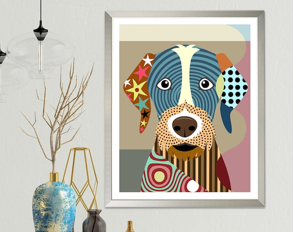 German Wirehaired Pointer Art Pet Gift, Cut Dog Print Animal Decor Painting