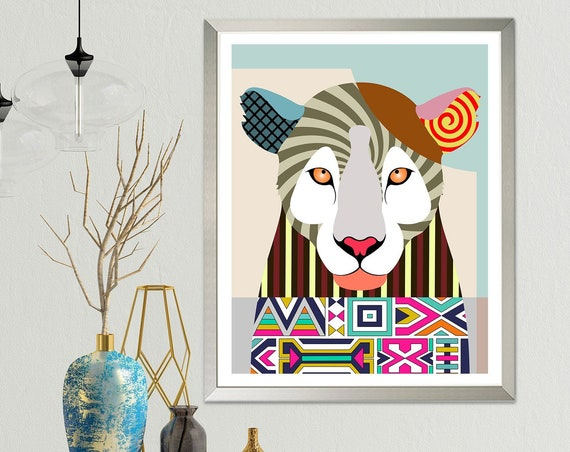 Leopard Print Wall Decor, Wild Animal Portrait Pop Art