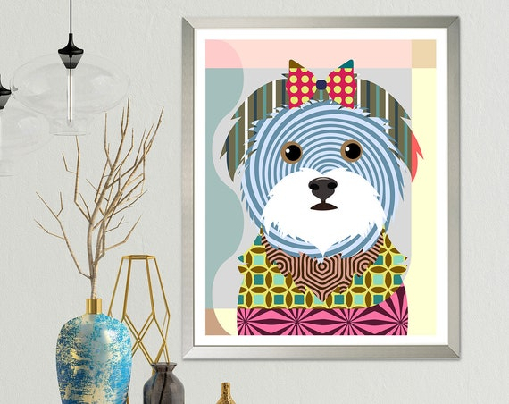 Maltese Dog Art Print Poster, Puppy Portraits