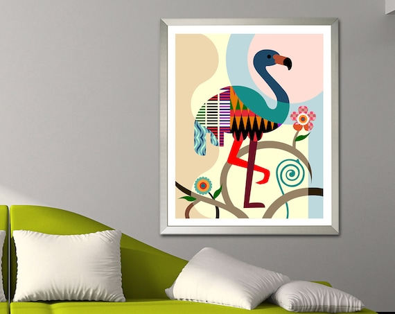 Flamingo Art Print, Wading Bird Lovers Gift