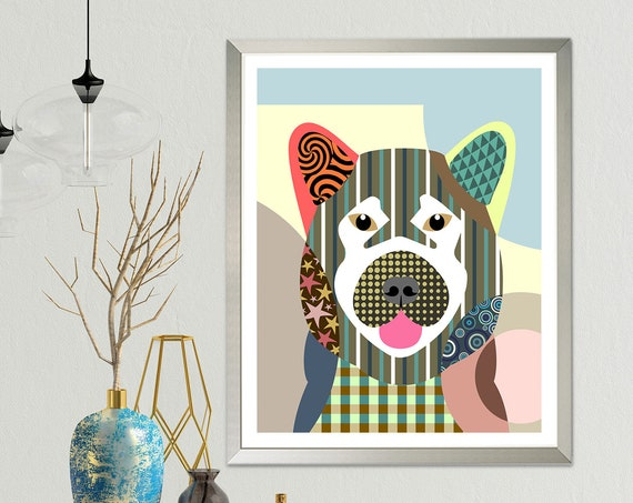 Akita Dog Art, Pet Portrait Animal Lover Gift