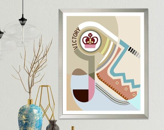 Bauhaus Abstract Art, Cubist Print Geometric Design