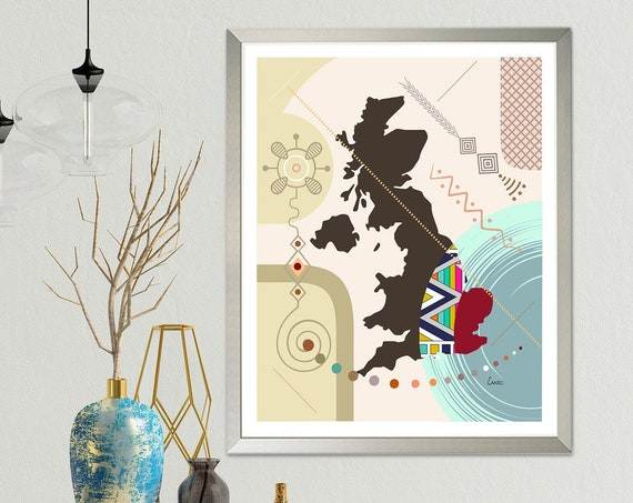 UK Map Print, United Kingdom Decor Britain Gift