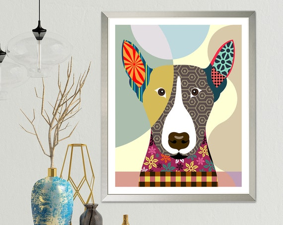 English Bull Terrier Art, Bully Dog Pet Portrait