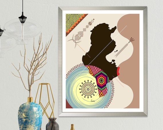 Tunisia Map Art, Tunis North African Abstract Painting Poster