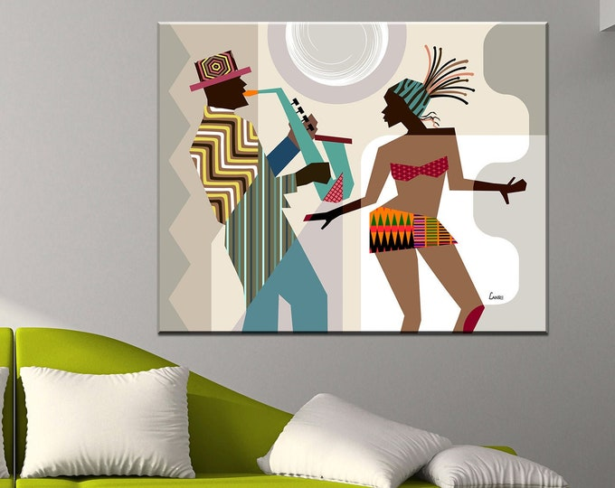 Featured listing image: African American wall Art, African painting, African Decor, Black Art,  Dance Gift, Dancing Queen, Saxophone Art, Music Poster, Music Decor