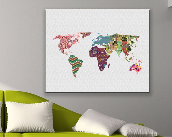 World Map Poster, Global Map Wall