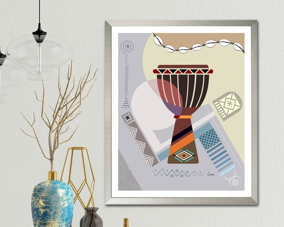 Djembe Art Print, African Drum Design Abstract