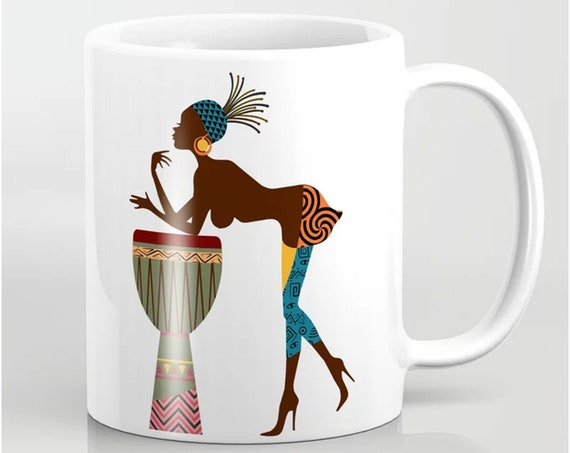 Black Girl Mug, Afrocentric Coffee Diva Queen Cup
