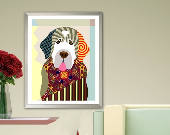 Clumber Spaniel Dog Print, Colorful Pet Portrait Gift