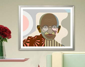 Mahatma Gandhi Wall Art, Indian Decor Gift Civil Rights Poster Portrait Painting
