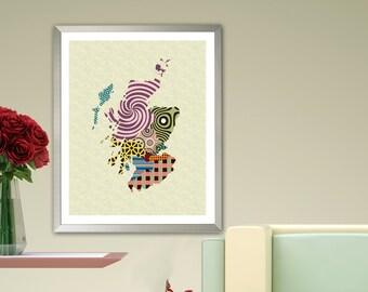 Scotland Map Art Print, Scottish Edinburgh UK Decor Design