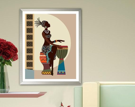 African American wall Art, Black Girl Painting Decor
