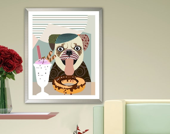 Pug Art Print Dog Portrait, Animal Wall Pet Decor