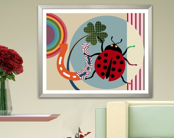 Good Luck Gift Lady Bird Bug Insect Print, Horse Shoe Decor
