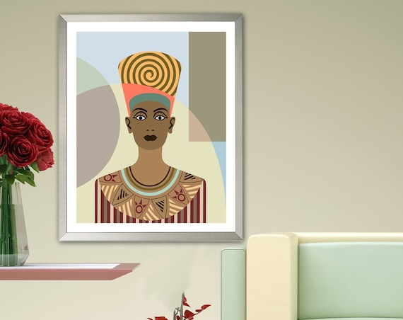 Nefertiti Painting Ancient Egypt Art Queen Portrait Poster