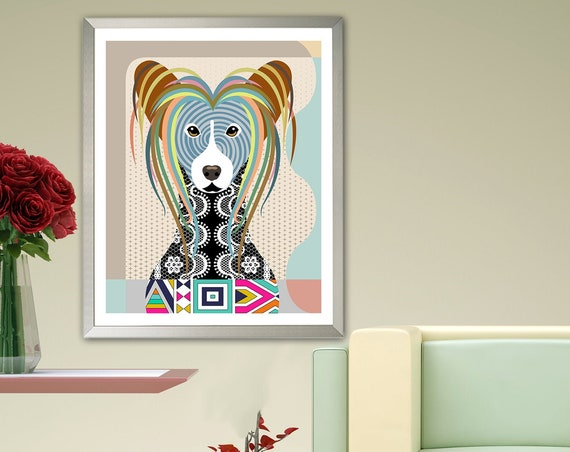 Chinese Crested Dog Art, Pet Portrait Animal Lover Gift
