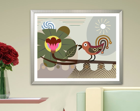 Bird Artwork, Bird Lover Gift Nightingale Print