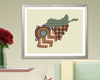Afghanistan Map Art, Kabul South Asian Country Print