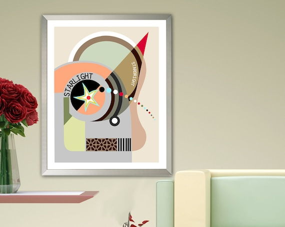 Bauhaus Art, Abstract Poster Geometric Decor Cubism Painting