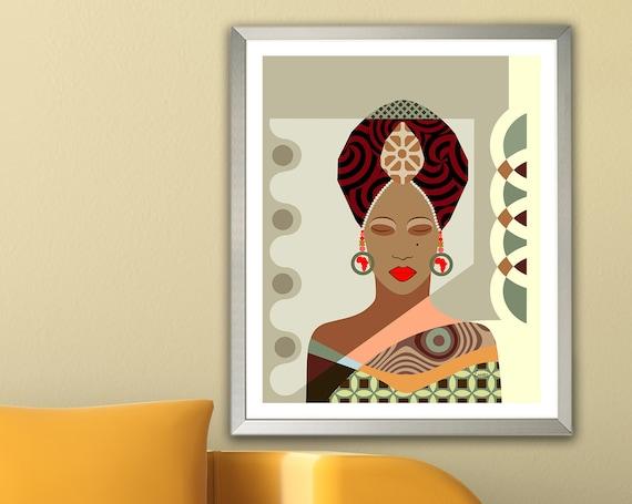 African Woman, Black Girl Art African American Nubian Queen