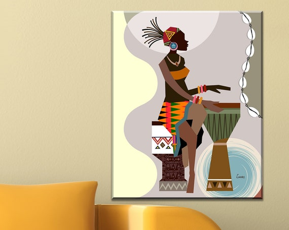 African American wall Art, Black Girl Painting Decor