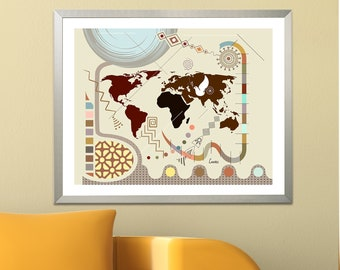World Map Wall Decor, Travel Art Print Abstract Cubist Poster, Geometric Map