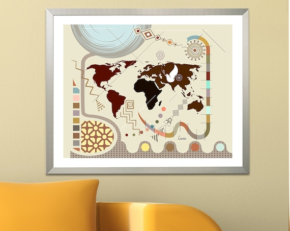 World Map Wall Decor, Travel Art Print Abstract Cubist Poster, Geometric Map