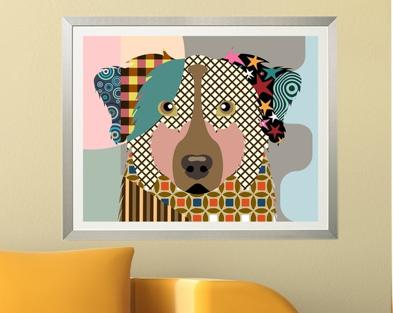 Australian Shepherd Print Aussie Dog, Doggy Portrait