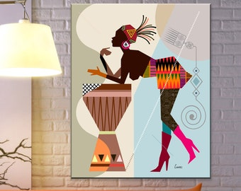African American Black Woman Art, Afrocentric Decor Painting
