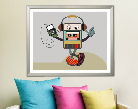 Music Poster Art Print, Cassette Player Decor