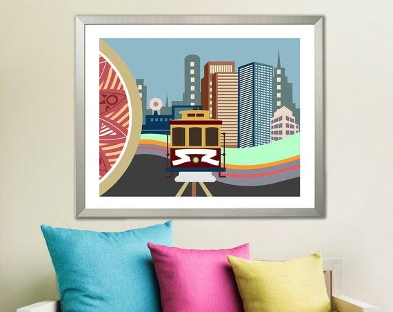 San Francisco Wall Art, Cable Car California