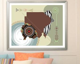 Sudan Map Art Print, Khartoum North African Geometric Decor