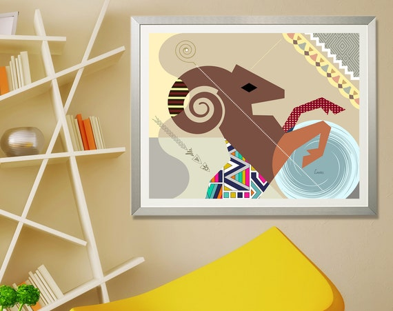 Aries Art, Star Sign Poster, Zodiac Gift, Horoscope Print, Ram Horn