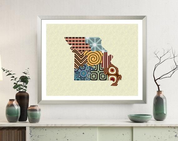 Missouri State Art Print, USA Abstract Map Design