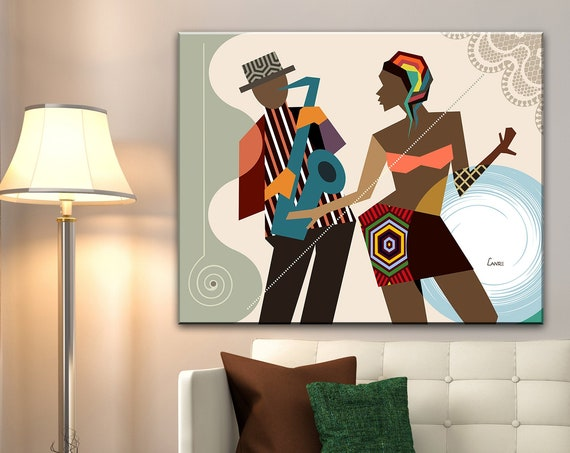 African American Wall Art, Dance Gift, Dancing Queen Saxophone Art, Music Poster Decor African painting Black Art