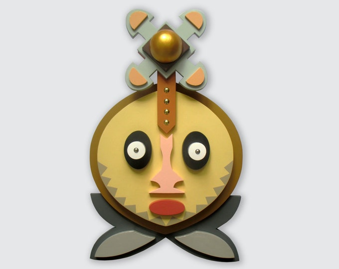 African Wooden Mask, Black American Art Original Wall Sculpture