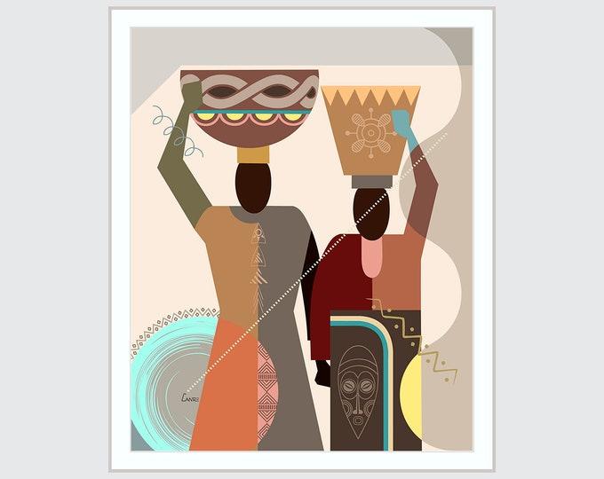 Ethnic African Wall Decor, Black American Art, Afrocentric Decor