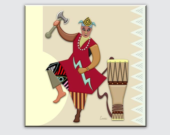 Shango Painting Santeria Art, Yoruba Religion Deity Orisha Print