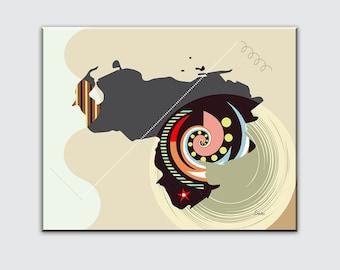 Venezuela Map Wall Décor, Caracas Poster South America Print Cubist Painting