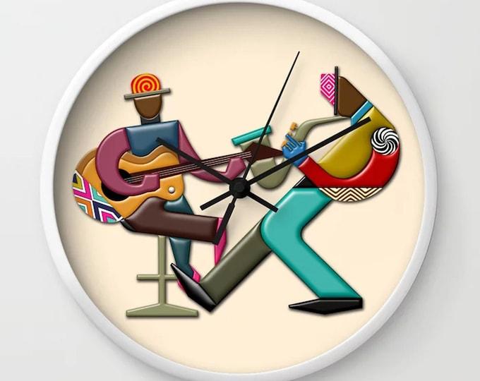Jazz Wall Clock Music Wall Décor, DJ Gift Guitar Saxophone Gift