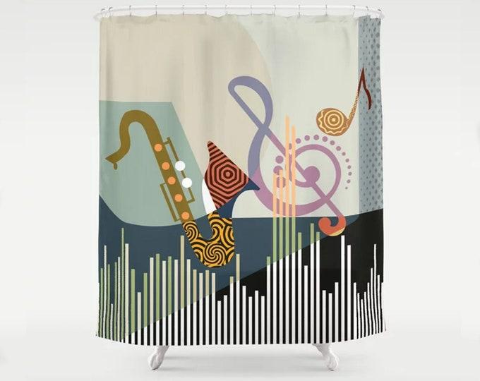 Music Shower Curtain Boho Bath Décor, Jazz Lover Saxophone Gift